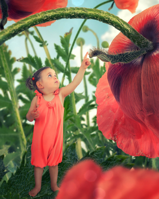 Little kid on poppy flower - Obrázkek zdarma pro Nokia C-5 5MP