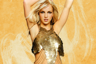 Britney Spears In Golden Dress - Obrázkek zdarma pro Desktop Netbook 1366x768 HD