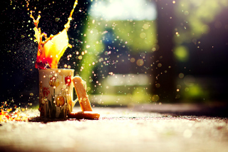 Coffee splashes bokeh Wallpaper for Android, iPhone and iPad