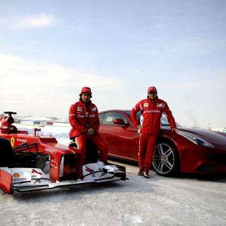 Fernando Alonso in Ferrari - Obrázkek zdarma pro 208x208