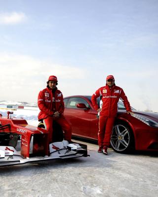 Fernando Alonso in Ferrari - Obrázkek zdarma pro Nokia C1-01