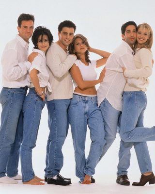Comedy sitcom Friends with Matthew Perry, Jennifer Aniston and David Schwimmer - Obrázkek zdarma pro 640x1136