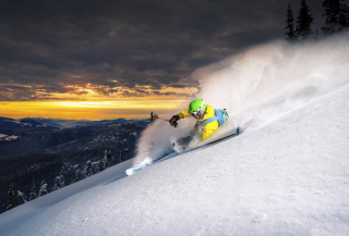 Skiing At Sunrise Background for Android, iPhone and iPad