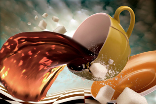 Surrealism Coffee Cup with Sugar cubes - Obrázkek zdarma pro Widescreen Desktop PC 1280x800