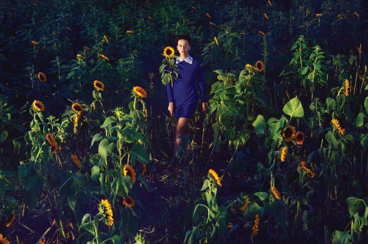 Girl In Blue Dress In Sunflower Field wallpaper
