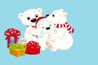 Polar Bears with Christmas Gifts sfondi gratuiti per cellulari Android, iPhone, iPad e desktop
