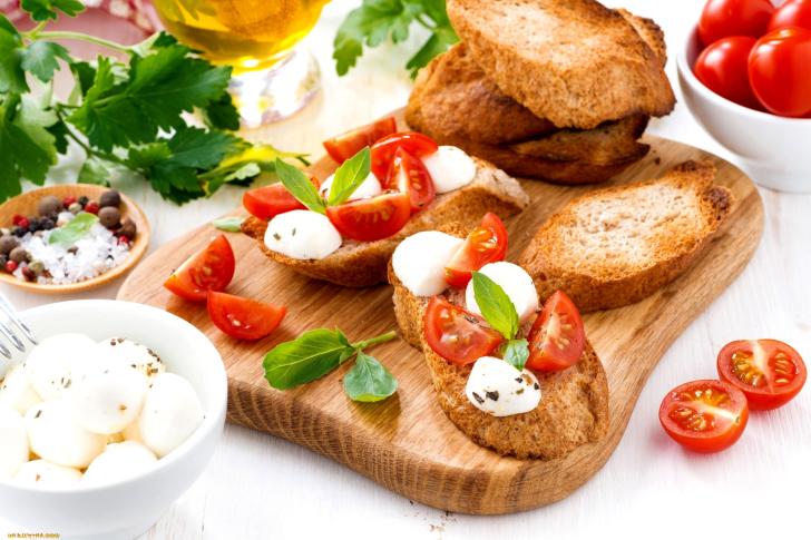 Canape bruschetta mozzarella tomatoes wallpaper for for Mozzarella canape