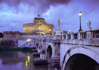 Castle Sant Angelo Bridge Rome Italy Background for Android, iPhone and iPad