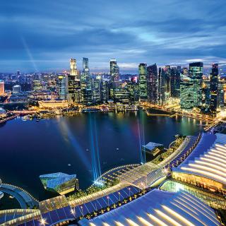 Singapore evening cityscape - Obrázkek zdarma pro 1024x1024