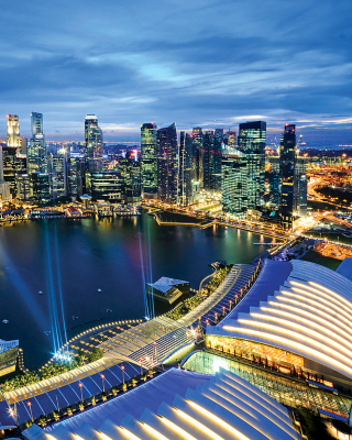 Singapore evening cityscape - Obrázkek zdarma pro 240x400
