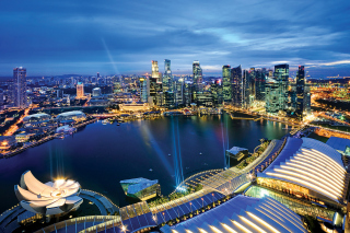 Singapore evening cityscape - Obrázkek zdarma pro Widescreen Desktop PC 1920x1080 Full HD