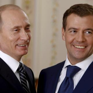 Vladimir Putin Russian President and Dmitry Medvedev - Obrázkek zdarma pro 320x320