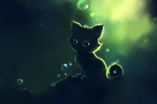 Free Lonely Black Kitty Painting Picture for Android, iPhone and iPad