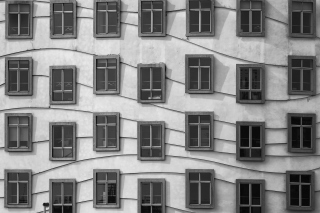 Windows Geometry on Dancing House - Obrázkek zdarma pro 480x320