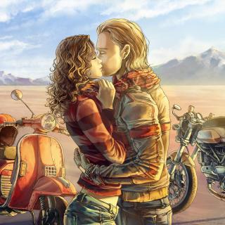 Biker Kiss - Obrázkek zdarma pro iPad Air