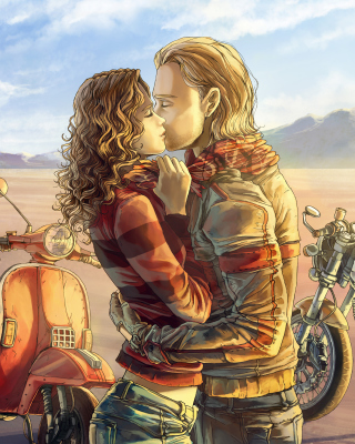 Biker Kiss - Obrázkek zdarma pro Nokia Asha 202