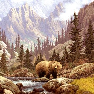 Brown Bear Painting - Obrázkek zdarma pro 2048x2048