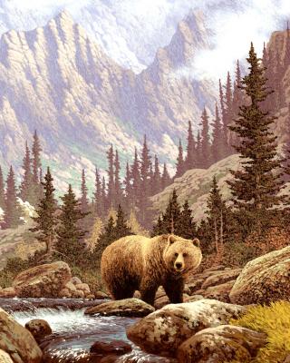 Brown Bear Painting - Obrázkek zdarma pro Nokia 300 Asha