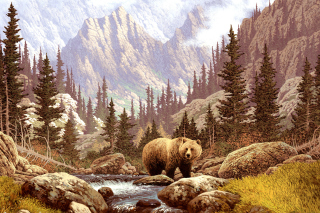 Free Brown Bear Painting Picture for Android, iPhone and iPad