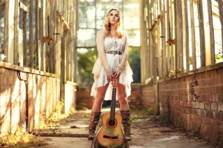 Girl With Guitar Chic Country Style Wallpaper for Android, iPhone and iPad
