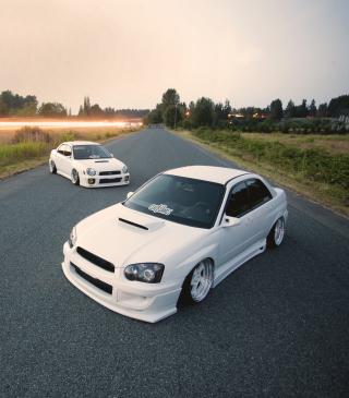 White Subaru Impreza - Obrázkek zdarma pro 132x176