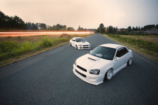 White Subaru Impreza - Obrázkek zdarma pro 720x320