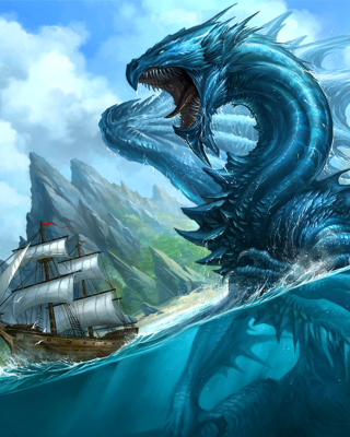 Dragon attacking on ship - Obrázkek zdarma pro iPhone 6