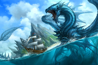 Dragon attacking on ship - Obrázkek zdarma pro Widescreen Desktop PC 1440x900