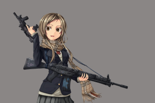 Free Anime girl with gun Picture for Android, iPhone and iPad