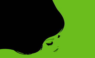 Girl's Face On Green Background Wallpaper for Android, iPhone and iPad