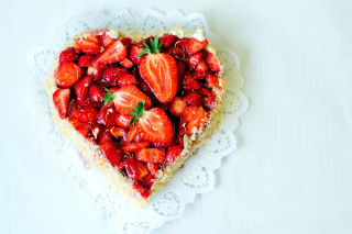 Heart Cake with strawberries Background for Android, iPhone and iPad