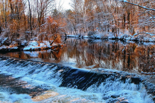 Winter Stream Background for Android, iPhone and iPad