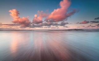 Beautiful Pink Clouds Over Sea Wallpaper for Android, iPhone and iPad