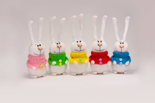 Funny Knitted Bunnies Background for Android, iPhone and iPad