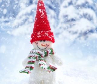 Cute Snowman Red Hat - Obrázkek zdarma pro 128x128