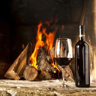 Wine and fireplace - Obrázkek zdarma pro 208x208