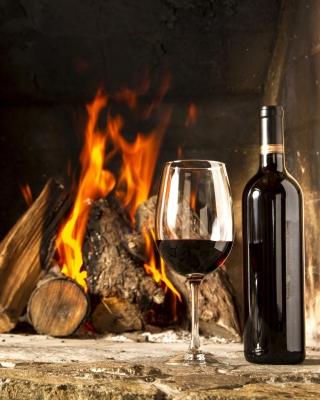 Wine and fireplace - Obrázkek zdarma pro 320x480