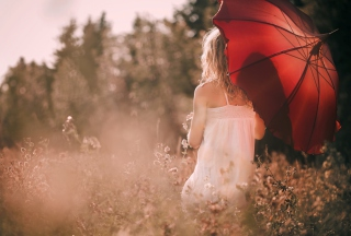 Girl With Red Umbrella Picture for Android, iPhone and iPad