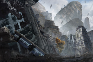 City in Ruins after Post Apocalypse Destruction Wallpaper for Android, iPhone and iPad