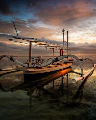 Landscape with Boat in Ocean - Obrázkek zdarma pro 128x160