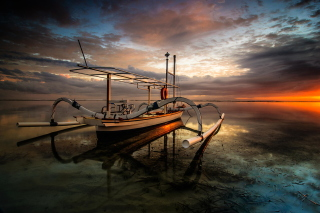 Landscape with Boat in Ocean Wallpaper for Android, iPhone and iPad