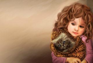 Little Girl With Kitten In Blanket Painting Background for Android, iPhone and iPad