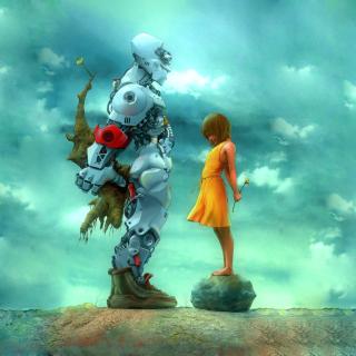 Girl And Robot - Obrázkek zdarma pro iPad 2