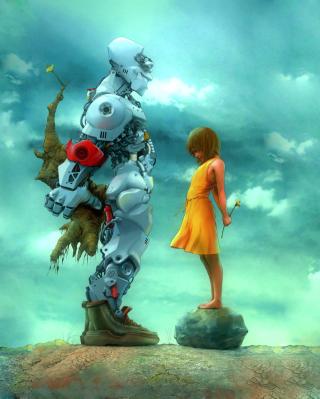 Girl And Robot - Obrázkek zdarma pro 352x416