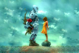 Girl And Robot - Obrázkek zdarma pro 1600x900