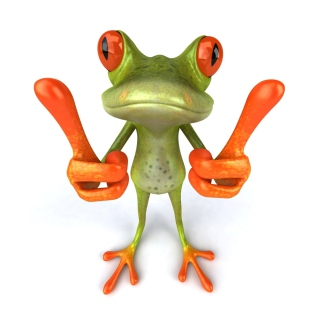 3D Frog Thumbs Up - Obrázkek zdarma pro 1024x1024