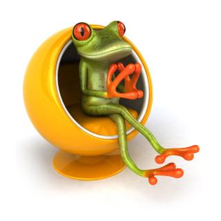 3D Frog On Yellow Chair - Obrázkek zdarma pro 1024x1024
