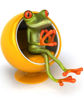 3D Frog On Yellow Chair - Obrázkek zdarma pro Nokia Asha 203