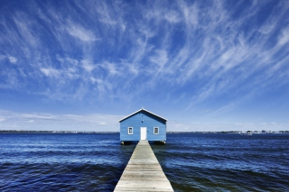 Free Blue Pier House Picture for Android, iPhone and iPad