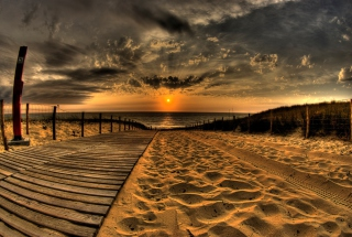 Sunset Ocean Sand Picture for Android, iPhone and iPad